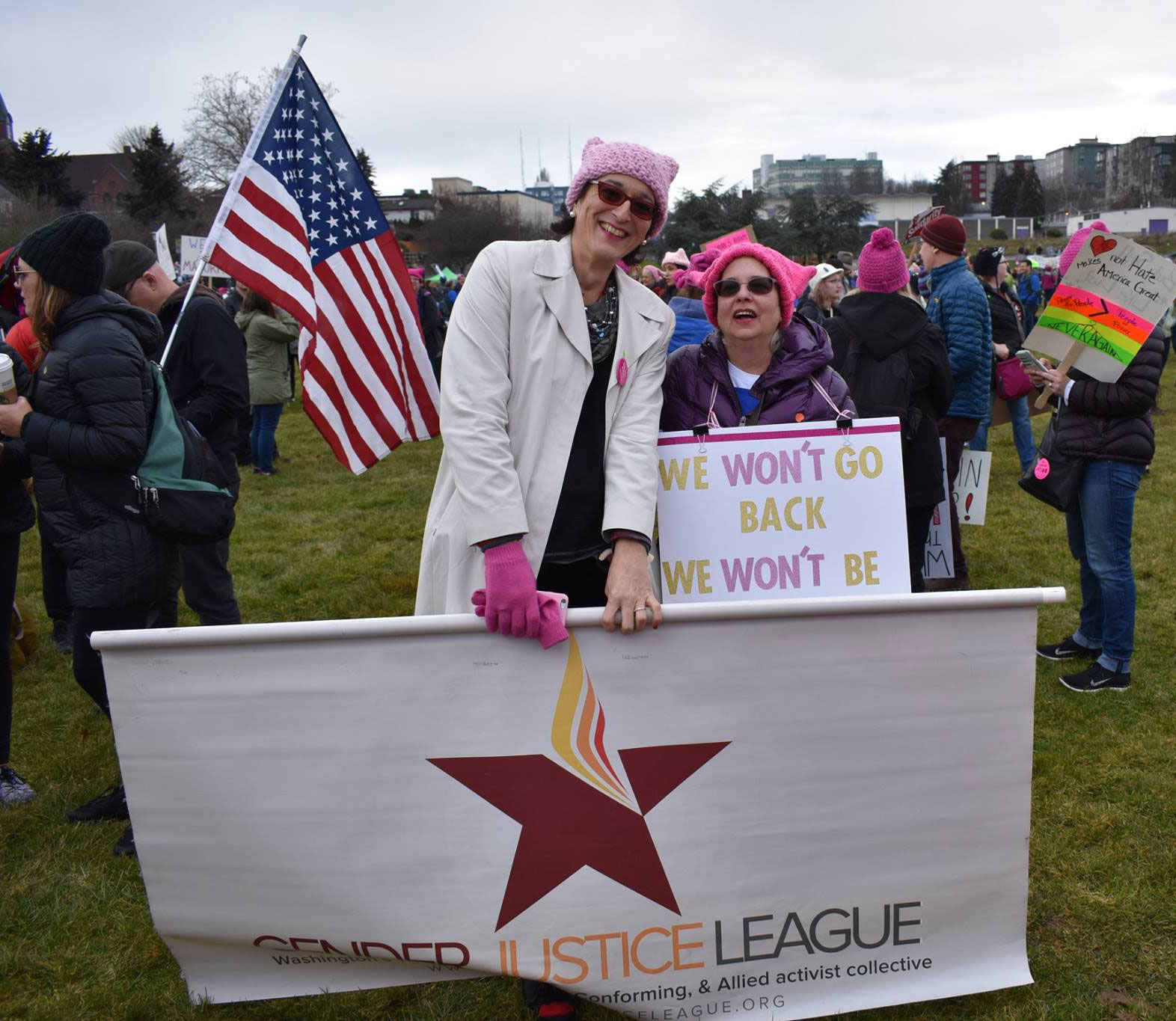 GJL Banner at the Women's March 2017